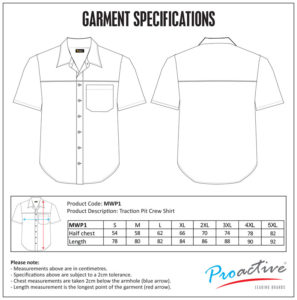 Traction Pit Crew Shirt size chart
